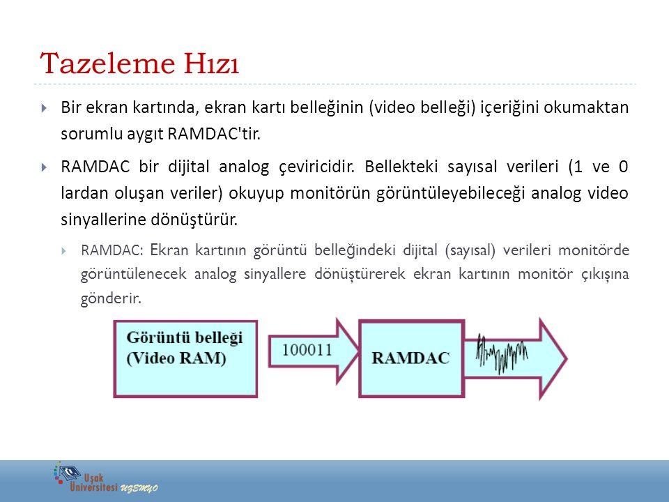 Tazeleme Hızı  Bir ekran kartında, ekran kartı belleğinin (video belleği) içeriğini okumaktan sorumlu aygıt RAMDAC'tir.  RAMDAC bir dijital analog ç