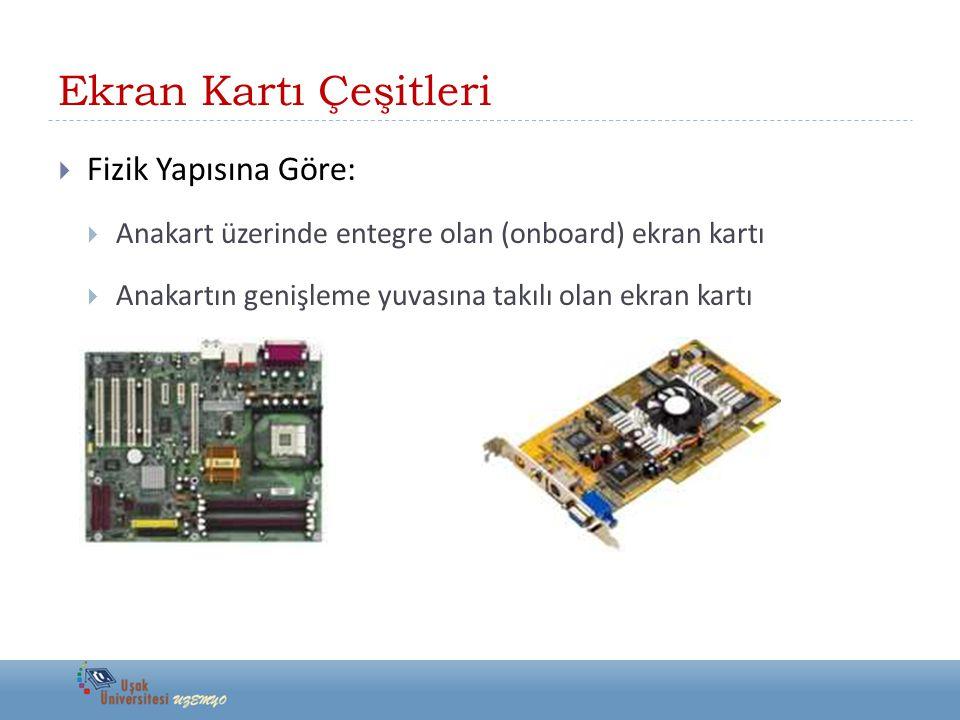 Ekran Kartı Çeşitleri  Fizik Yapısına Göre:  Anakart üzerinde entegre olan (onboard) ekran kartı  Anakartın genişleme yuvasına takılı olan ekran ka