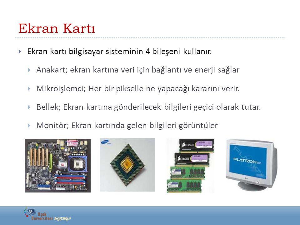 Ekran Kartı  Ekran kartı bilgisayar sisteminin 4 bileşeni kullanır.  Anakart; ekran kartına veri için bağlantı ve enerji sağlar  Mikroişlemci; Her