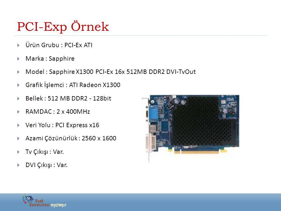 PCI-Exp Örnek  Ürün Grubu : PCI-Ex ATI  Marka : Sapphire  Model : Sapphire X1300 PCI-Ex 16x 512MB DDR2 DVI-TvOut  Grafik İşlemci : ATI Radeon X130