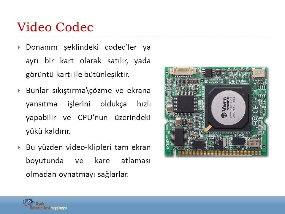 Video Codec  Donanım şeklindeki codec'ler ya ayrı bir kart olarak satılır, yada görüntü kartı ile bütünleşiktir.  Bunlar sıkıştırma\çözme ve ekrana