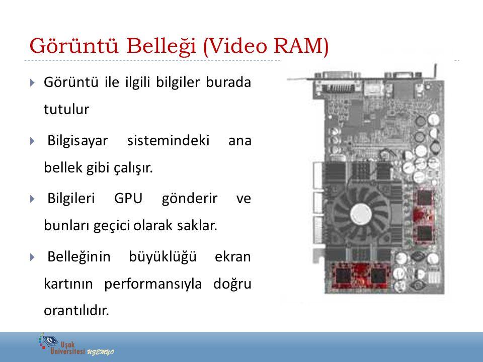  Günümüz ekran kartları 128, 256 veya 512 MB kapasitelidir  DDR2 veya GDDR3 bellek tiplerine sahiptirler.
