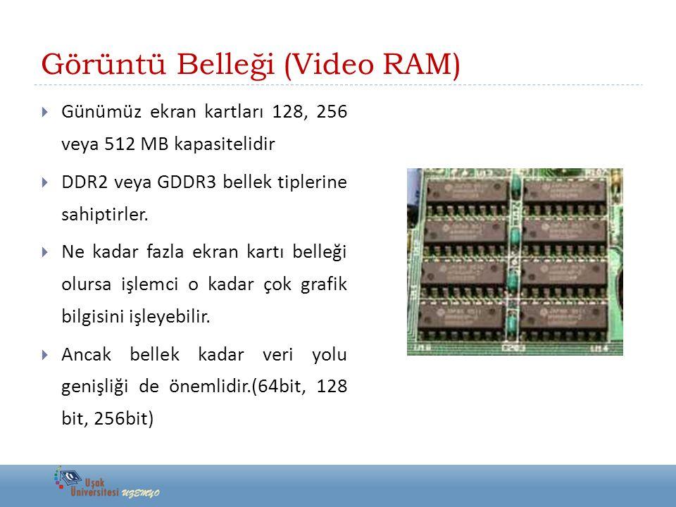  Günümüz ekran kartları 128, 256 veya 512 MB kapasitelidir  DDR2 veya GDDR3 bellek tiplerine sahiptirler.  Ne kadar fazla ekran kartı belleği olurs