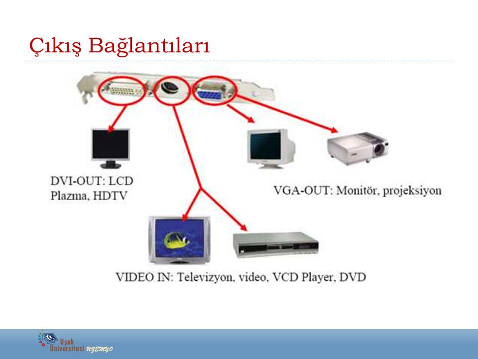  VGA-OUT: CRT monitörlerin ve projeksiyon aygıtlarının bağlandığı ve bu aygıtlara görüntü aktarıldığı çıkış portudur.