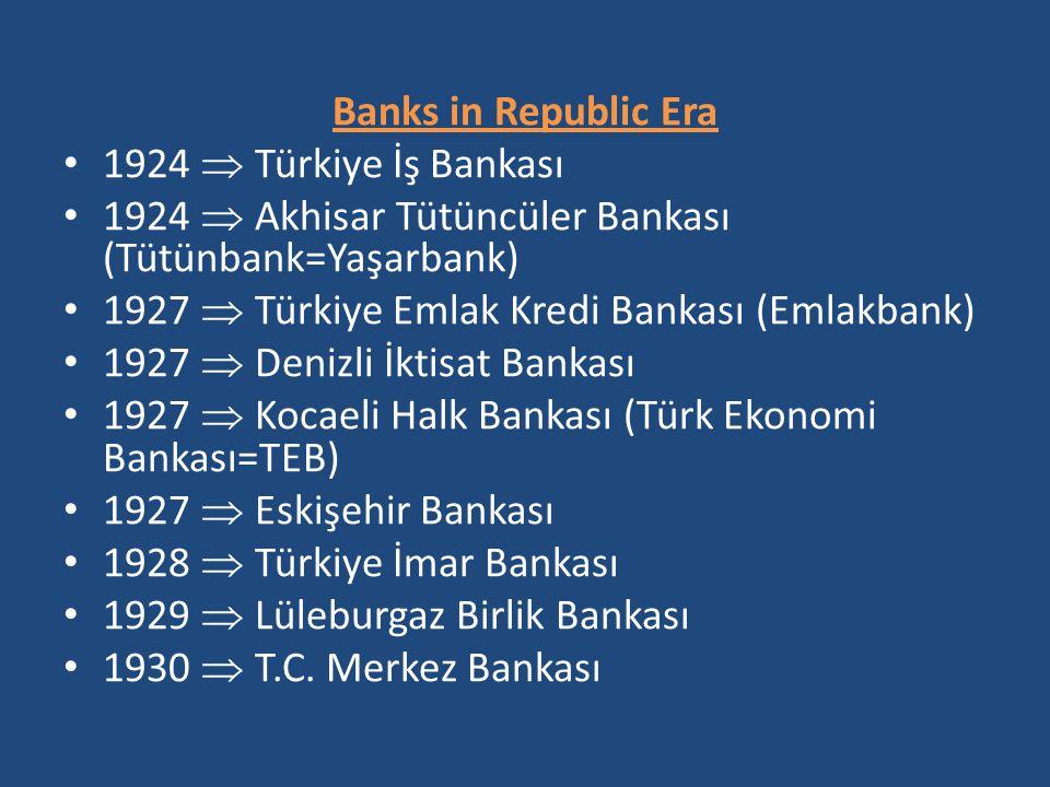 Banks in Republic Era 1924  Türkiye İş Bankası 1924  Akhisar Tütüncüler Bankası (Tütünbank=Yaşarbank) 1927  Türkiye Emlak Kredi Bankası (Emlakbank)