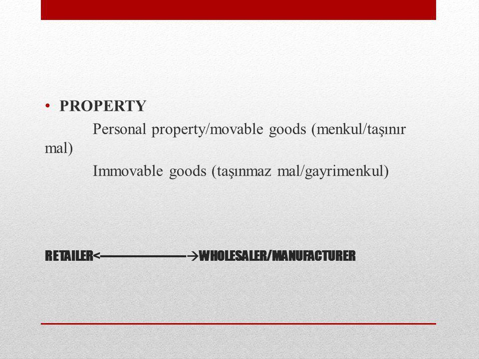 RETAILER<----------------------  WHOLESALER/MANUFACTURER PROPERTY Personal property/movable goods (menkul/taşınır mal) Immovable goods (taşınmaz mal/gayrimenkul)