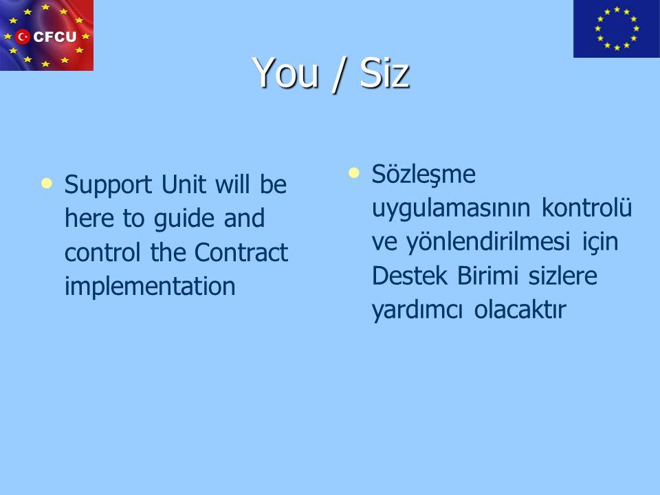You / Siz Support Unit will be here to guide and control the Contract implementation Sözleşme uygulamasının kontrolü ve yönlendirilmesi için Destek Bi