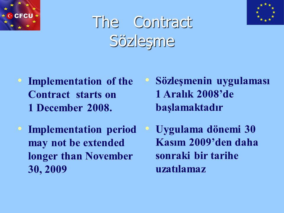 Contract Sections Sözleşmenin Bölümleri Special Conditions Annex I: Description of the Action Annex II: General Conditions Annex III: Budget for the Action Annex IV: Contract-award procedures Annex V: Request for payment, LES, and FIF Annex VI: Model narrative and financial report Annex VII: Model expenditure verification report Annex VIII: Grant of Facilities Özel Koşullar Ek I: Faaliyet tanımı (proje) Ek II: Genel koşullar Ek III: Proje bütçesi EK IV: Satınalma usulleri EK V: Ödeme talepleri, Tüzel Kişilik Formu ve Mali Kimlik Formu Ek VI: Teknik ve Mali Rapor Şablonu EK VII: Harcama doğrulama raporu şablonu EK VIII: Hibeye tanınan muafiyetler