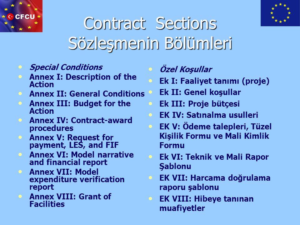Contract Sections Sözleşmenin Bölümleri Special Conditions Annex I: Description of the Action Annex II: General Conditions Annex III: Budget for the A