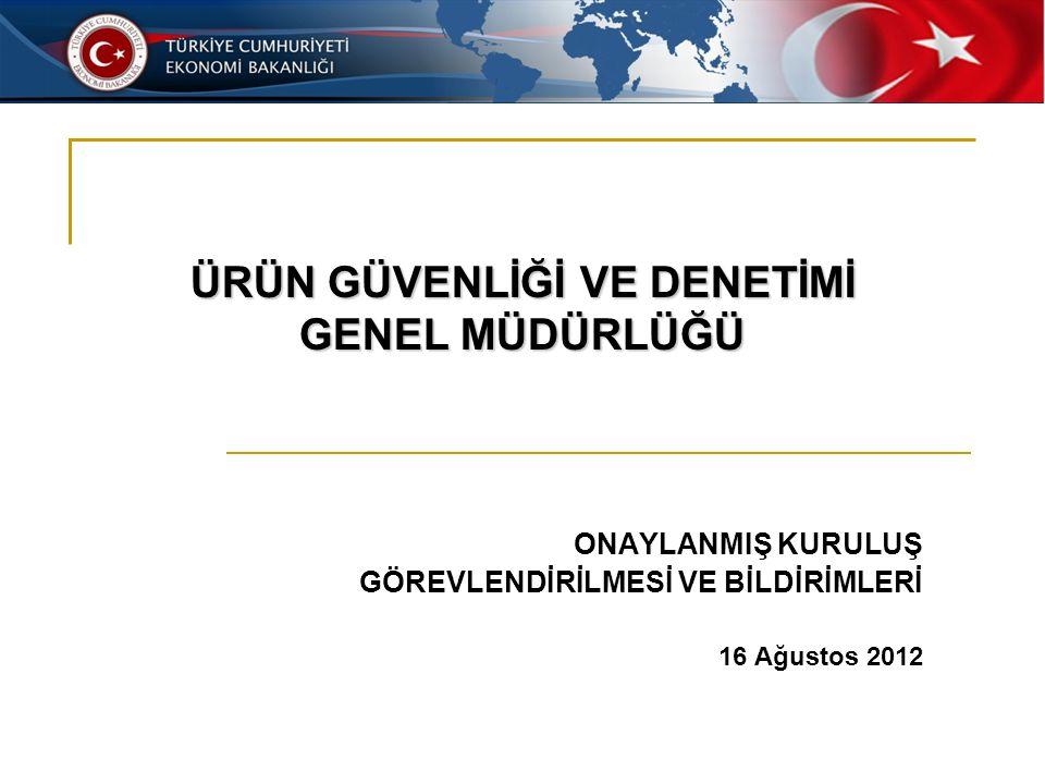 ONAYLANMIŞ KURULUŞ GÖREVLENDİRİLMESİ VE BİLDİRİMLERİ 16 Ağustos 2012 ÜRÜN GÜVENLİĞİ VE DENETİMİ GENEL MÜDÜRLÜĞÜ