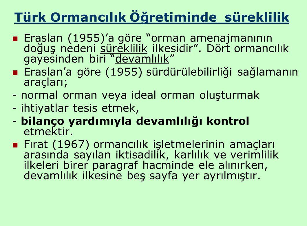Türk Ormancılık Öğretiminde süreklilik Eraslan (1955)'a göre orman amenajmanının doğuş nedeni süreklilik ilkesidir .