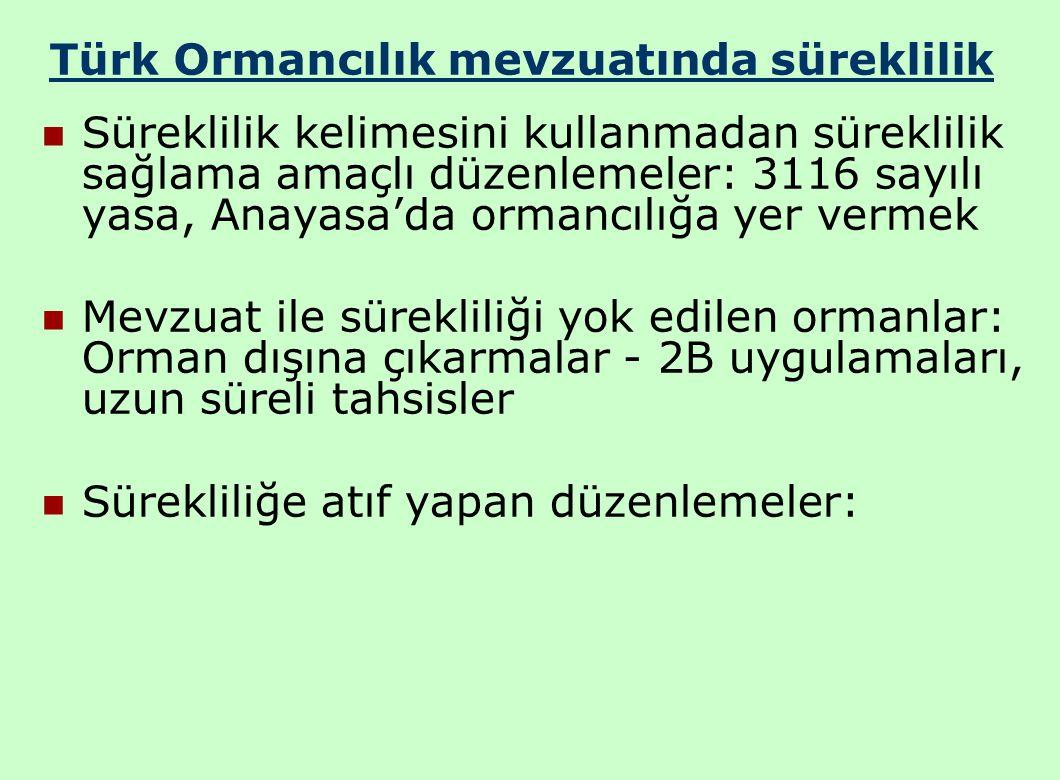Türk Ormancılık mevzuatında süreklilik Süreklilik kelimesini kullanmadan süreklilik sağlama amaçlı düzenlemeler: 3116 sayılı yasa, Anayasa'da ormancılığa yer vermek Mevzuat ile sürekliliği yok edilen ormanlar: Orman dışına çıkarmalar - 2B uygulamaları, uzun süreli tahsisler Sürekliliğe atıf yapan düzenlemeler: