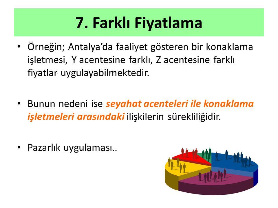 7. Farklı Fiyatlama Örneğin; Antalya'da faaliyet gösteren bir konaklama işletmesi, Y acentesine farklı, Z acentesine farklı fiyatlar uygulayabilmekted