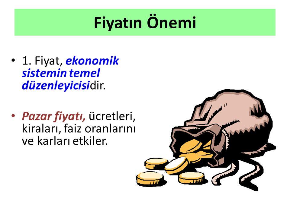 Fiyatın Önemi 1.Fiyat, ekonomik sistemin temel düzenleyicisidir.
