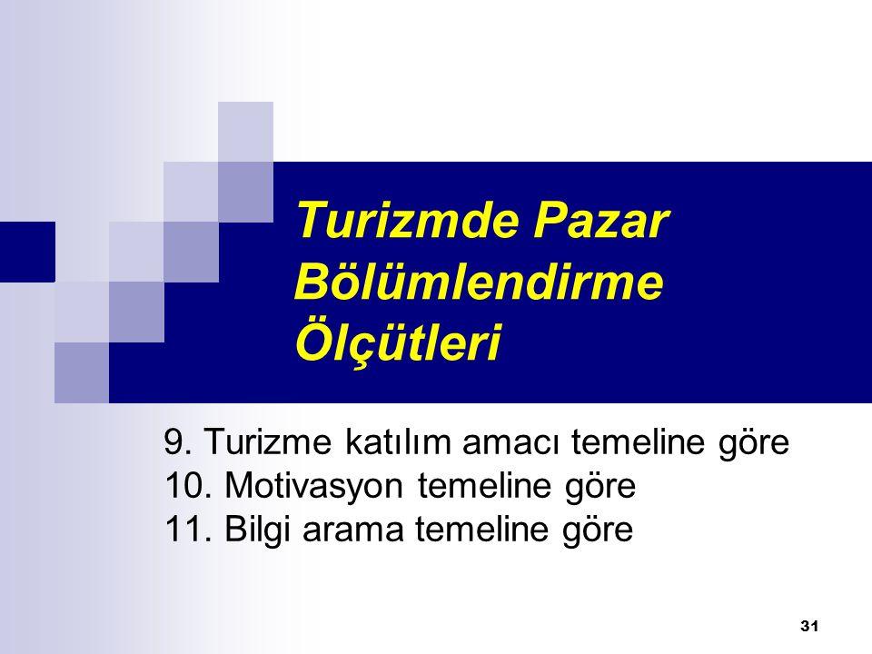 Turizmde Pazar Bölümlendirme Ölçütleri 9. Turizme katılım amacı temeline göre 10. Motivasyon temeline göre 11. Bilgi arama temeline göre 31