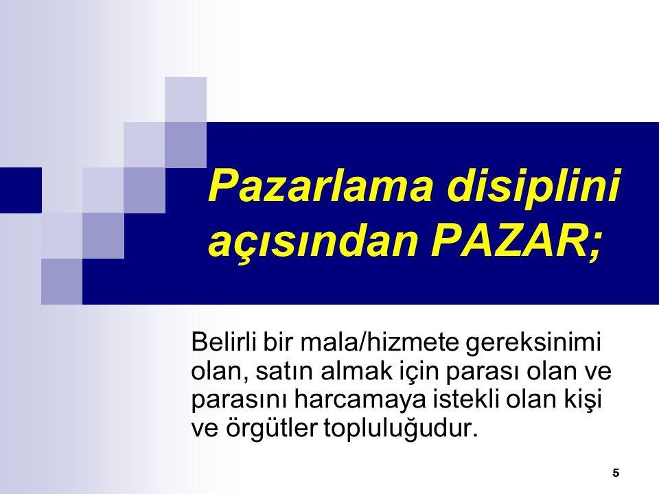Pazarlama disiplini açısından PAZAR; Belirli bir mala/hizmete gereksinimi olan, satın almak için parası olan ve parasını harcamaya istekli olan kişi v
