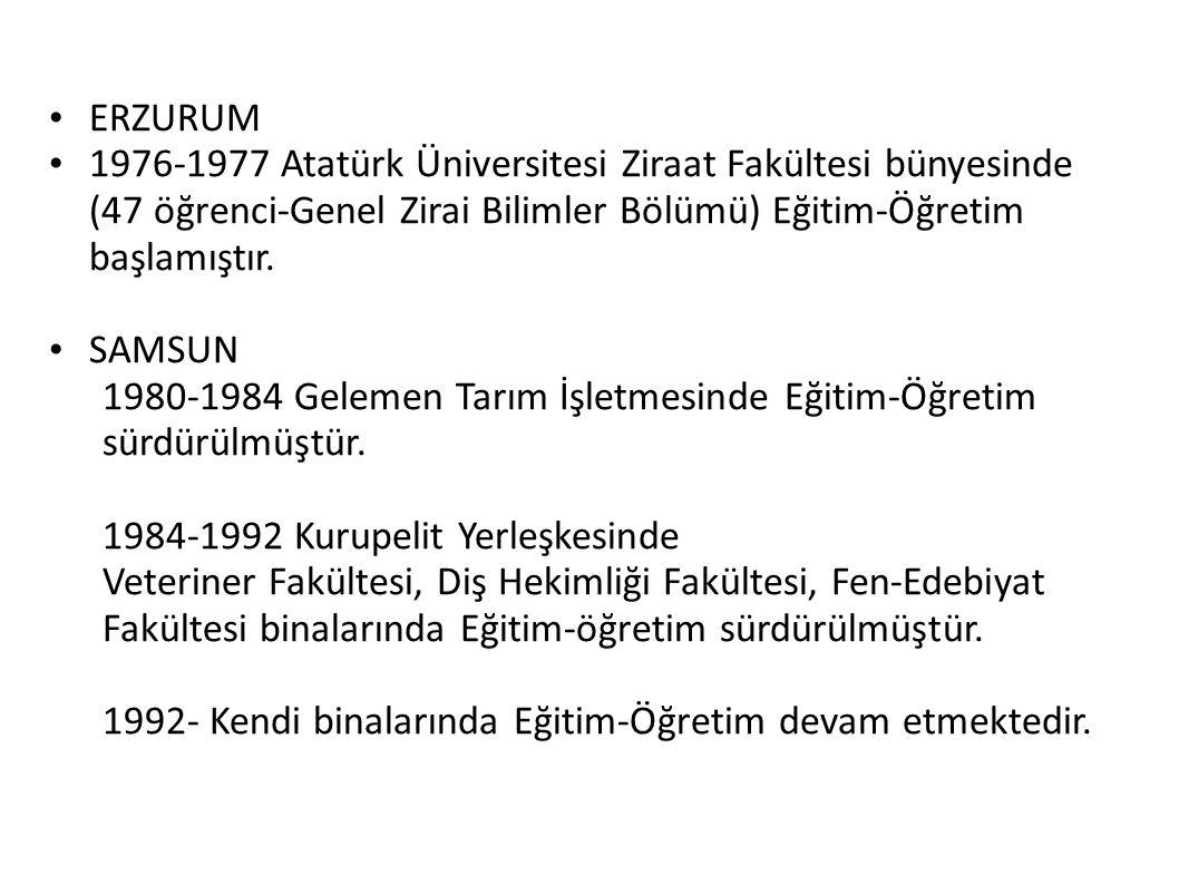 ERZURUM 1976-1977 Atatürk Üniversitesi Ziraat Fakültesi bünyesinde (47 öğrenci-Genel Zirai Bilimler Bölümü) Eğitim-Öğretim başlamıştır. SAMSUN 1980-19