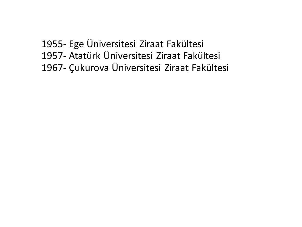 1955- Ege Üniversitesi Ziraat Fakültesi 1957- Atatürk Üniversitesi Ziraat Fakültesi 1967- Çukurova Üniversitesi Ziraat Fakültesi
