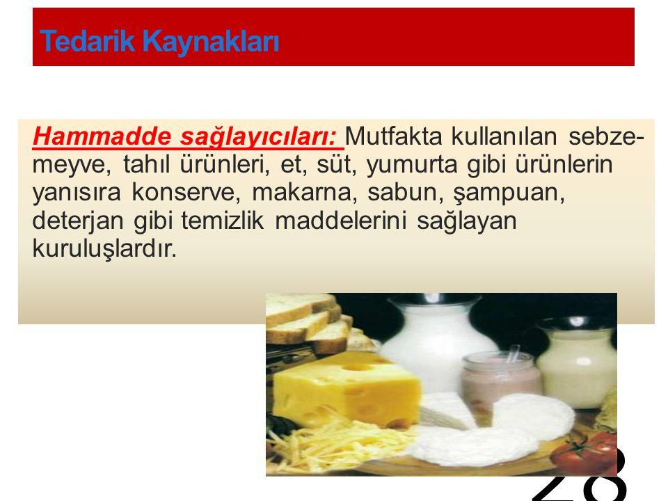 Tedarik Kaynakları Hammadde sağlayıcıları: Mutfakta kullanılan sebze- meyve, tahıl ürünleri, et, süt, yumurta gibi ürünlerin yanısıra konserve, makarn