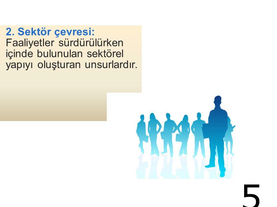 2. Sektör çevresi: Faaliyetler sürdürülürken içinde bulunulan sektörel yapıyı oluşturan unsurlardır. 5