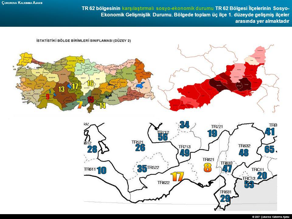 18 TR 62 bölgesinin karşılaştırmalı sosyo-ekonomik durumu TR 62 Bölgesi İlçelerinin Sosyo- Ekonomik Gelişmişlik Durumu. Bölgede toplam üç ilçe 1. düze