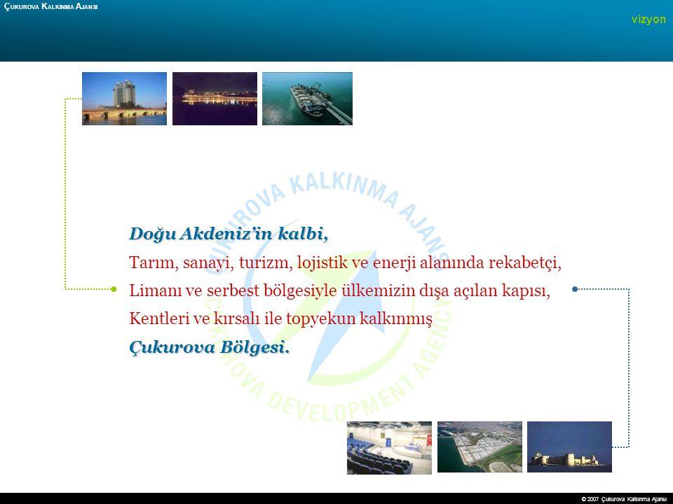 21 vizyon Ç UKUROVA K ALKINMA A JANSI Doğu Akdeniz'in kalbi, Tarım, sanayi, turizm, lojistik ve enerji alanında rekabetçi, Limanı ve serbest bölgesiyl