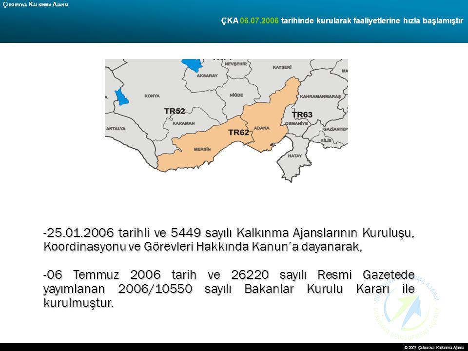 6 ÇKA 06.07.2006 tarihinde kurularak faaliyetlerine hızla başlamıştır Ç UKUROVA K ALKINMA A JANSI -25.01.2006 tarihli ve 5449 sayılı Kalkınma Ajanslar