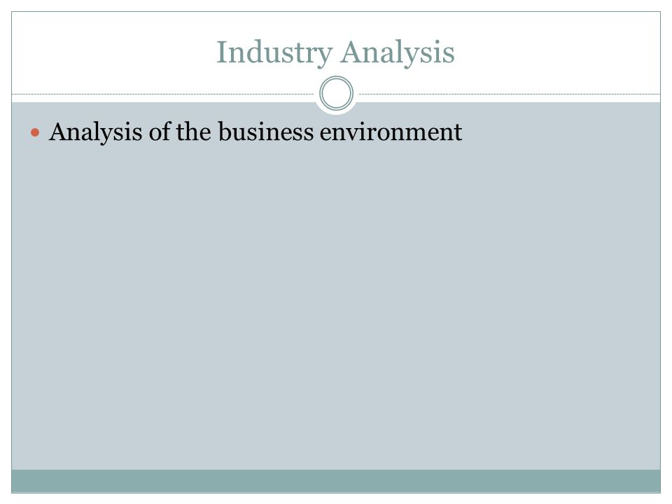 Industry Analysis Analysis of the business environment