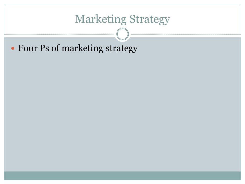 Marketing Strategy Four Ps of marketing strategy