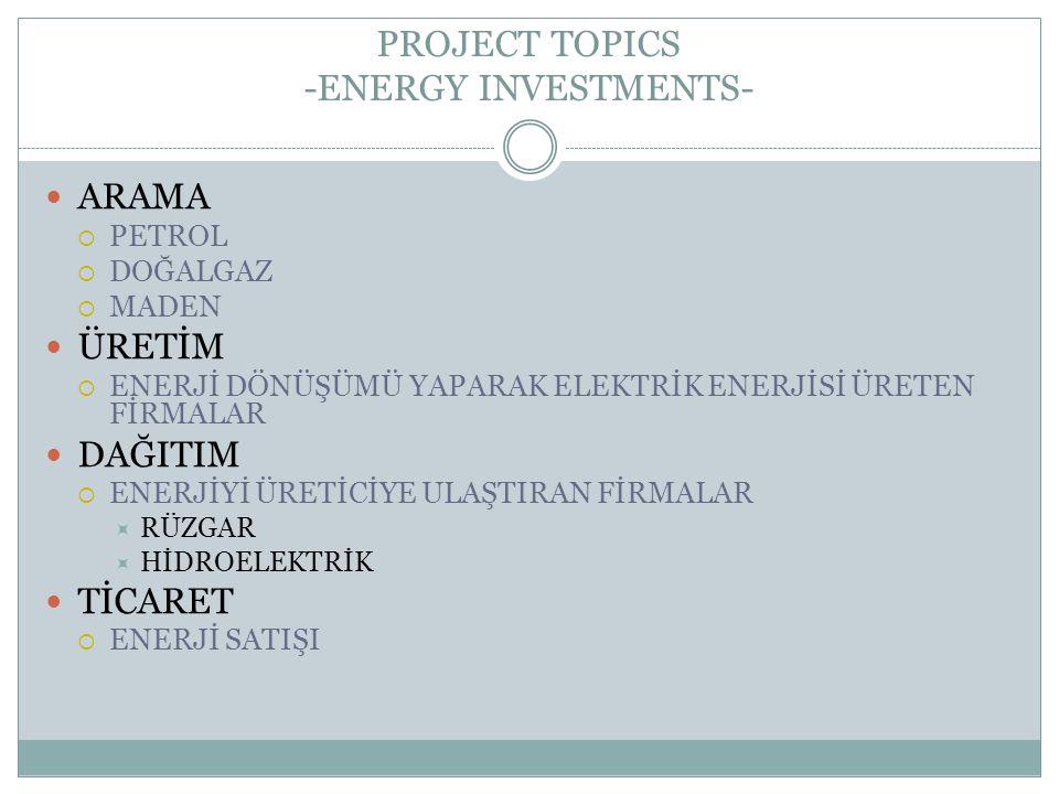 PROJECT TOPICS -ENERGY INVESTMENTS- ARAMA  PETROL  DOĞALGAZ  MADEN ÜRETİM  ENERJİ DÖNÜŞÜMÜ YAPARAK ELEKTRİK ENERJİSİ ÜRETEN FİRMALAR DAĞITIM  ENE