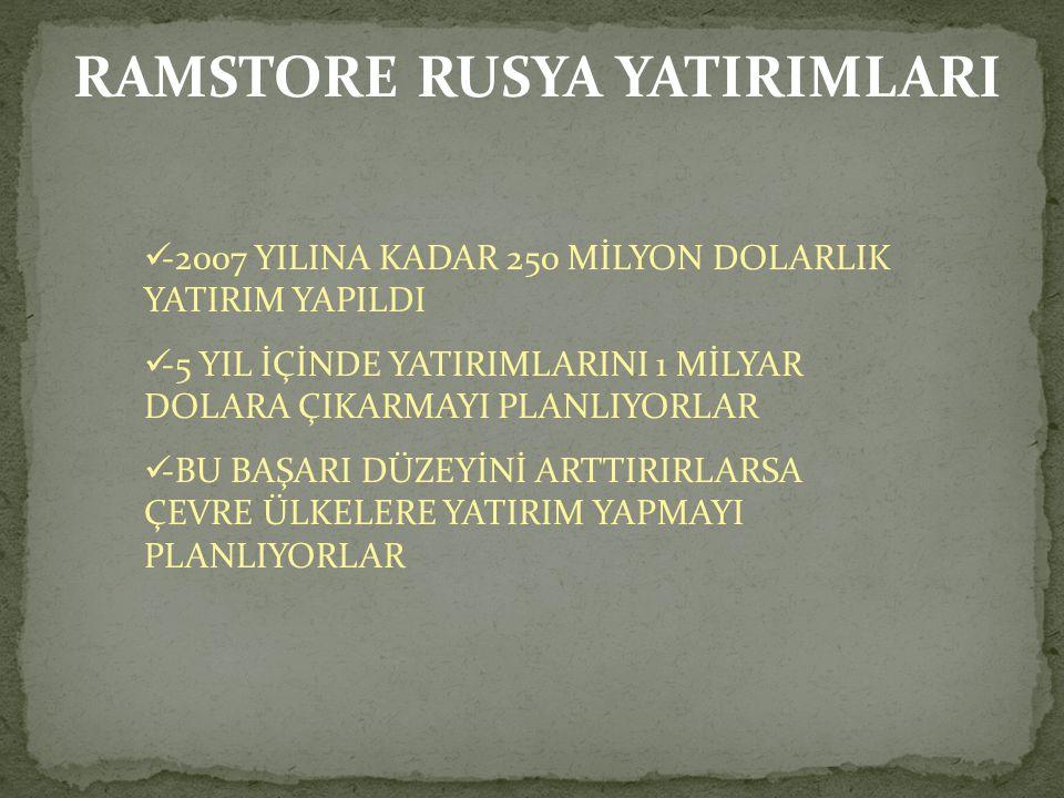 RAMSTORE RUSYA YATIRIMLARI -2007 YILINA KADAR 250 MİLYON DOLARLIK YATIRIM YAPILDI -5 YIL İÇİNDE YATIRIMLARINI 1 MİLYAR DOLARA ÇIKARMAYI PLANLIYORLAR -