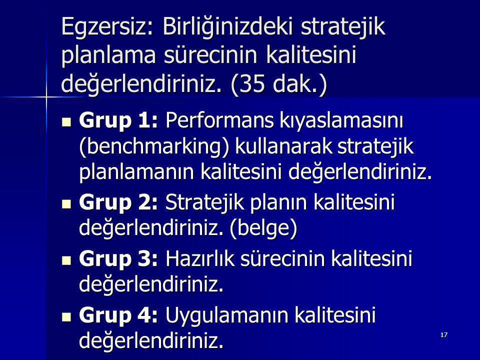17 Egzersiz: Birliğinizdeki stratejik planlama sürecinin kalitesini değerlendiriniz.