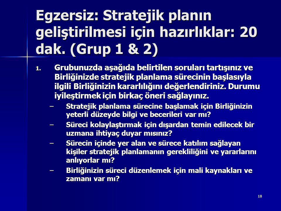 18 Egzersiz: Stratejik planın geliştirilmesi için hazırlıklar: 20 dak.