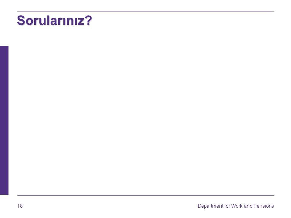 Department for Work and Pensions 18 Sorularınız