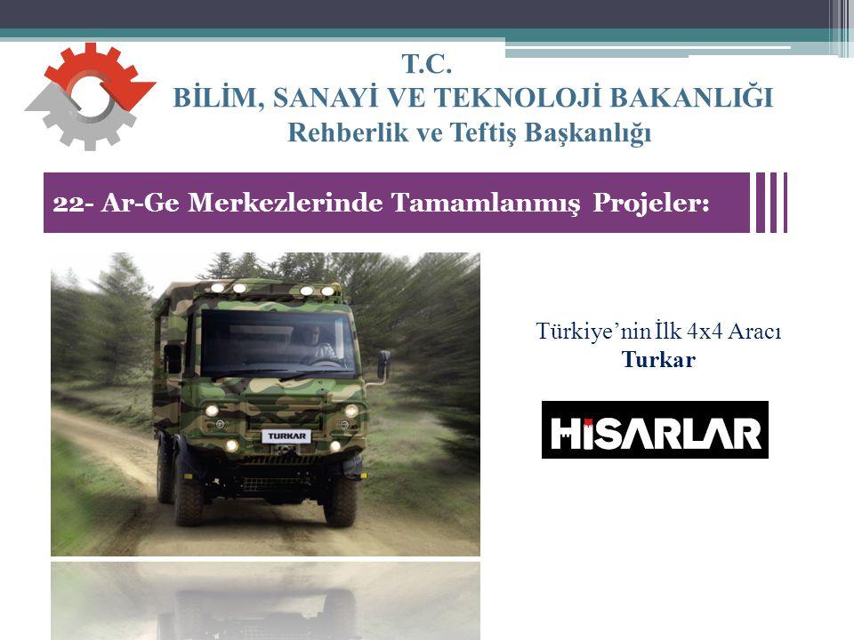 T.C. BİLİM, SANAYİ VE TEKNOLOJİ BAKANLIĞI Rehberlik ve Teftiş Başkanlığı 33 22- Ar-Ge Merkezlerinde Tamamlanmış Projeler: Türkiye'nin İlk 4x4 Aracı Tu