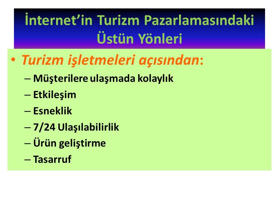İnternet'in Turizm Pazarlamasındaki Üstün Yönleri Turizm işletmeleri açısından: – Müşterilere ulaşmada kolaylık – Etkileşim – Esneklik – 7/24 Ulaşılab