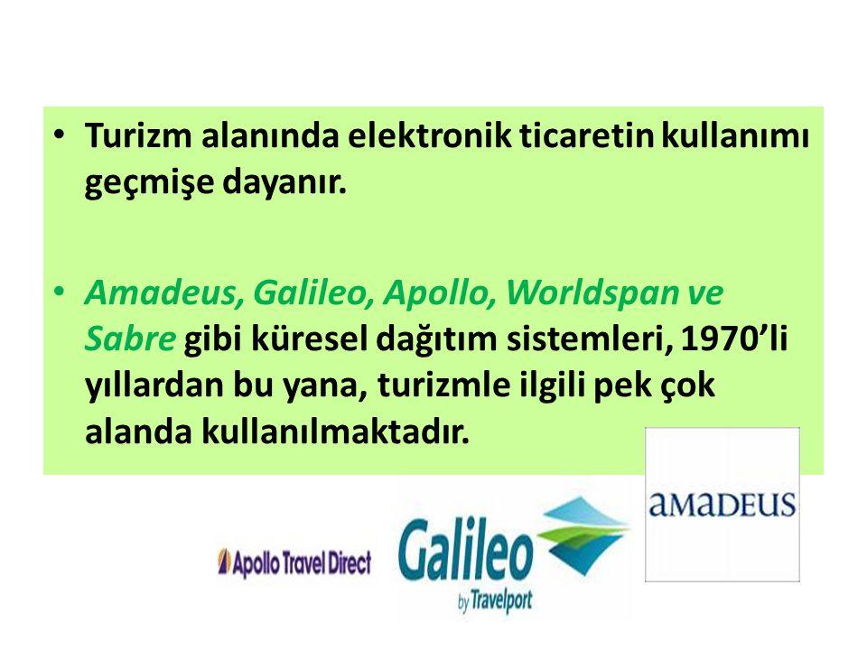 Turizm alanında elektronik ticaretin kullanımı geçmişe dayanır. Amadeus, Galileo, Apollo, Worldspan ve Sabre gibi küresel dağıtım sistemleri, 1970'li