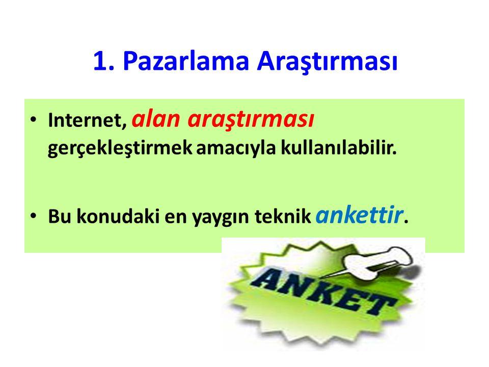 1. Pazarlama Araştırması Internet, alan araştırması gerçekleştirmek amacıyla kullanılabilir. Bu konudaki en yaygın teknik ankettir.