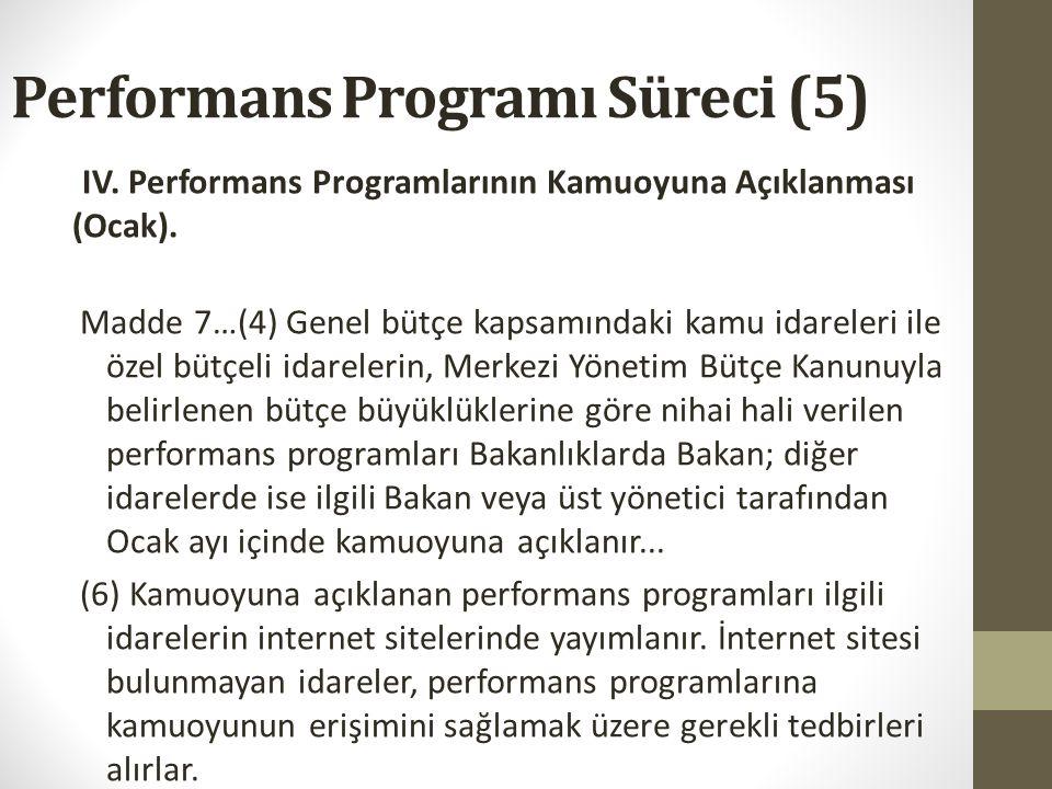 Performans Programı Süreci (4) IV. Performans Programı Tasarısının Parlamentoya Gönderilmesi (Ekim 3.hafta). Madde 7..(3) Genel bütçe kapsamındaki kam