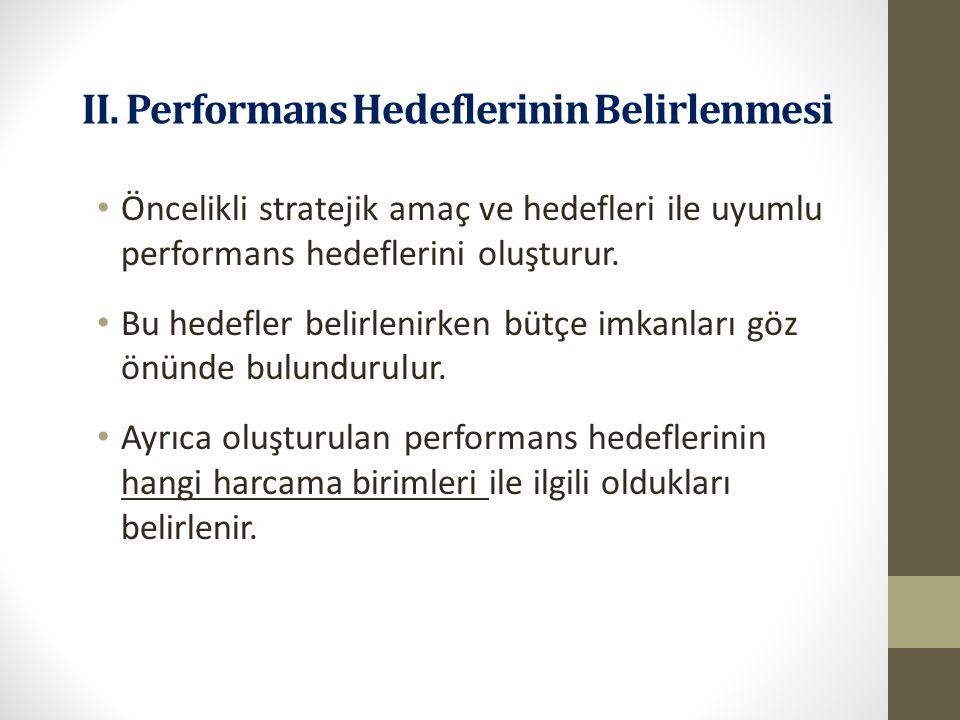 II. Performans Hedeflerinin Belirlenmesi Performans hedefleri, stratejik hedeflere ilişkin olarak bir mali yılda ulaşılması gereken performans seviyel