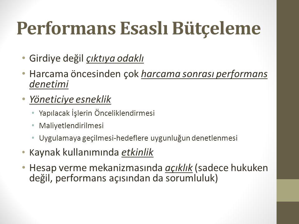 Performans Programı: Kavramsal Çerçeve Performans Esaslı Bütçeleme: Kaynakların kamu idarelerinin amaç ve hedefleri doğrultusunda tahsisini ve kullanı