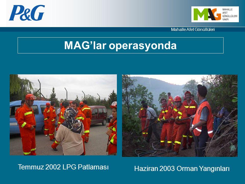 Mahalle Afet Gönüllüleri Temmuz 2002 LPG Patlaması Haziran 2003 Orman Yangınları MAG'lar operasyonda