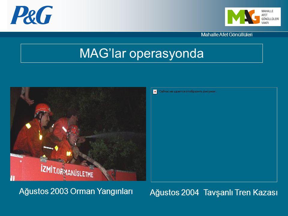 Mahalle Afet Gönüllüleri Ağustos 2003 Orman Yangınları Ağustos 2004 Tavşanlı Tren Kazası MAG'lar operasyonda