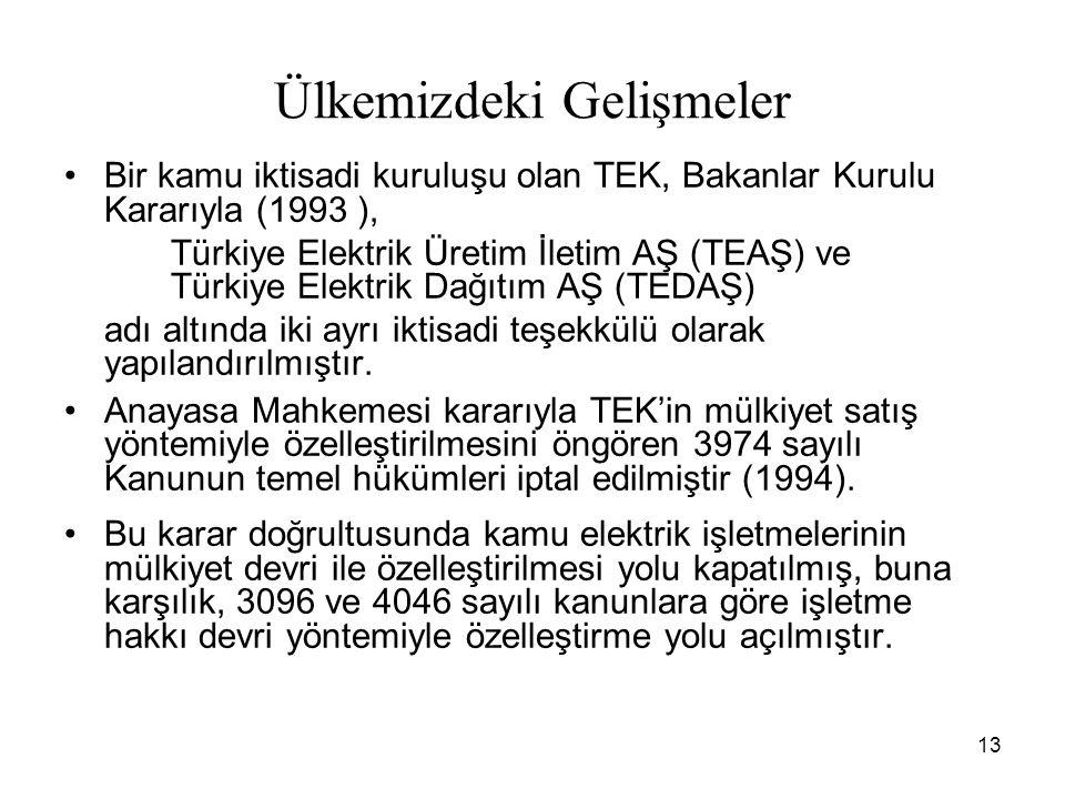 13 Ülkemizdeki Gelişmeler Bir kamu iktisadi kuruluşu olan TEK, Bakanlar Kurulu Kararıyla (1993 ), Türkiye Elektrik Üretim İletim AŞ (TEAŞ) ve Türkiye Elektrik Dağıtım AŞ (TEDAŞ) adı altında iki ayrı iktisadi teşekkülü olarak yapılandırılmıştır.