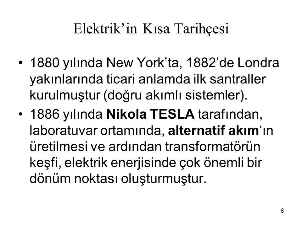 6 Elektrik'in Kısa Tarihçesi 1880 yılında New York'ta, 1882'de Londra yakınlarında ticari anlamda ilk santraller kurulmuştur (doğru akımlı sistemler).