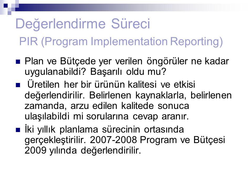 Değerlendirme Süreci PIR (Program Implementation Reporting) Plan ve Bütçede yer verilen öngörüler ne kadar uygulanabildi? Başarılı oldu mu? Üretilen h