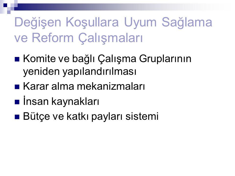 Değişen Koşullara Uyum Sağlama ve Reform Çalışmaları Komite ve bağlı Çalışma Gruplarının yeniden yapılandırılması Karar alma mekanizmaları İnsan kayna