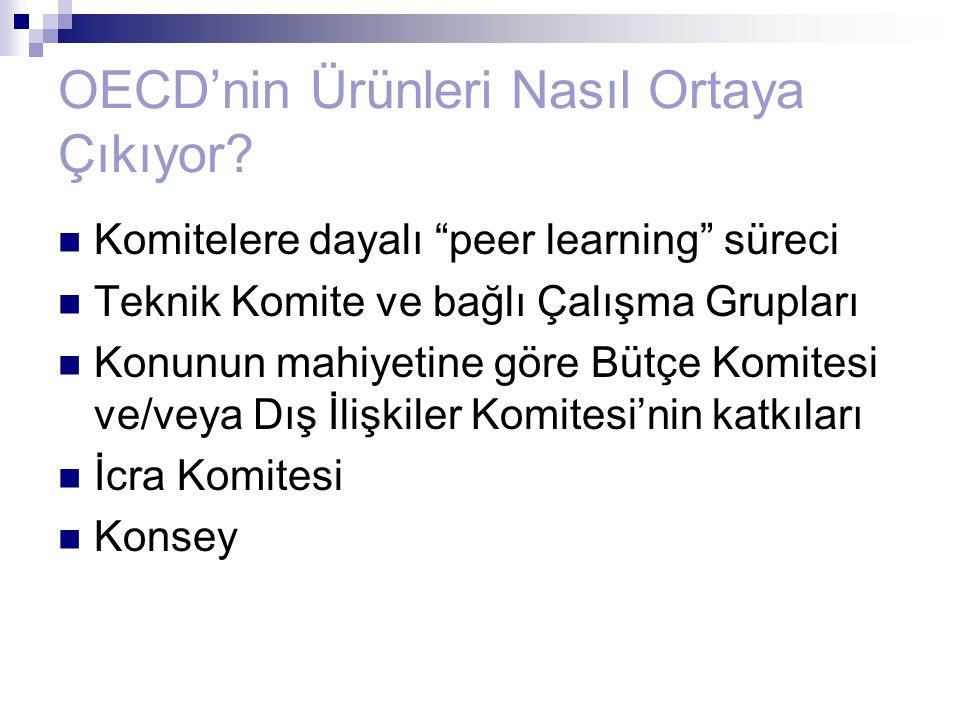 """OECD'nin Ürünleri Nasıl Ortaya Çıkıyor? Komitelere dayalı """"peer learning"""" süreci Teknik Komite ve bağlı Çalışma Grupları Konunun mahiyetine göre Bütçe"""
