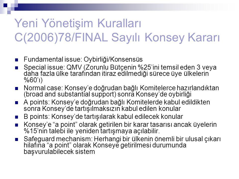 Yeni Yönetişim Kuralları C(2006)78/FINAL Sayılı Konsey Kararı Fundamental issue: Oybirliği/Konsensüs Special issue: QMV (Zorunlu Bütçenin %25'ini tems