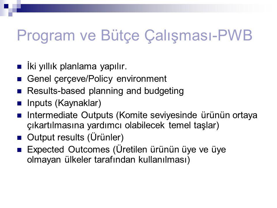 Program ve Bütçe Çalışması-PWB İki yıllık planlama yapılır. Genel çerçeve/Policy environment Results-based planning and budgeting Inputs (Kaynaklar) I